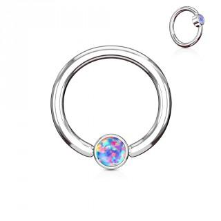 Anneau à cylindre captif serti d'une opale violette