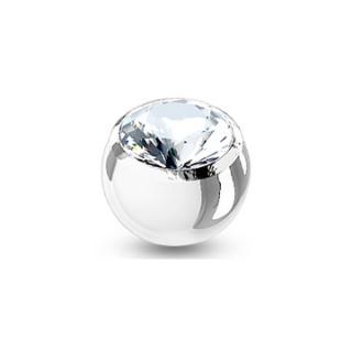 Boule de piercing en acier sertie - Clair