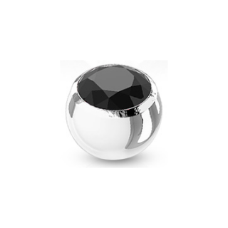 Boule de piercing en acier sertie - Noir