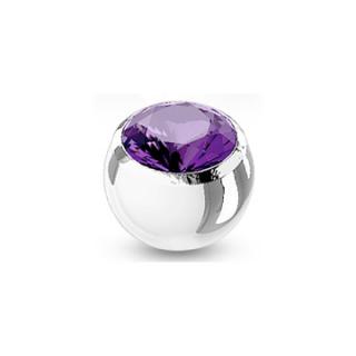 Boule de piercing en acier sertie - Violet Tanzanite