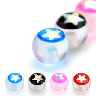 Boule de piercing étoilée en acrylique (remplacement - pour tige 1,6mm)