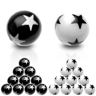 Boule étoilée en acrylique pour piercing (remplacement - pour tige 1,6mm)