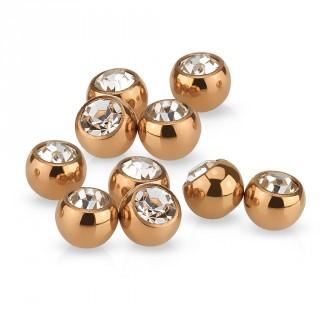Boule strass en acier rose gold IP pour piercing (remplacement)