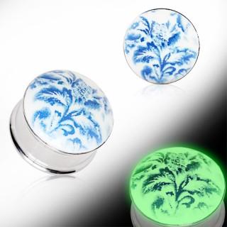 Ecarteur plug fluorescent à motif floral bleu