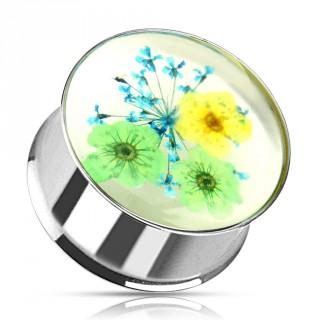 Ecarteur type plug fleuri vert, jaune et bleu avec tunnel acier