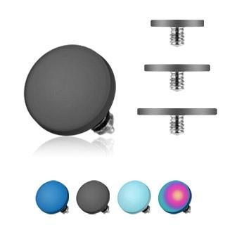 Embout disque plat teinté titanium en acier pour piercing microdermal