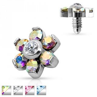 Embout fleur en acier avec cristaux pour piercing microdermal