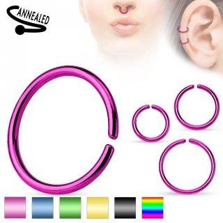 Faux piercing anneau oreille ou nez (sans perçage) style classique plaqué IP