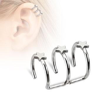 Faux piercing cartilage argenté à trois anneaux étoilés ouverts