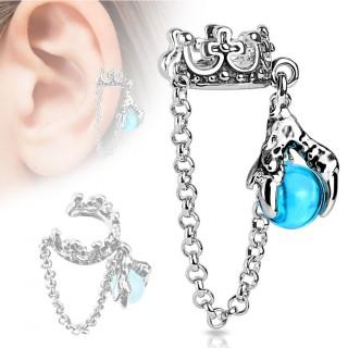 Faux piercing cartilage avec couronne et griffe à orbe bleue