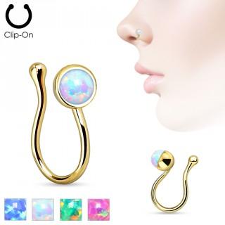 Faux piercing nez en laiton doré avec opale de synthèse