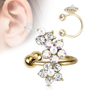 Faux piercing oreille doré à fleurs perlées