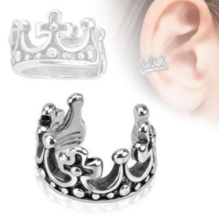 Faux piercing oreille en forme de couronne avec croix