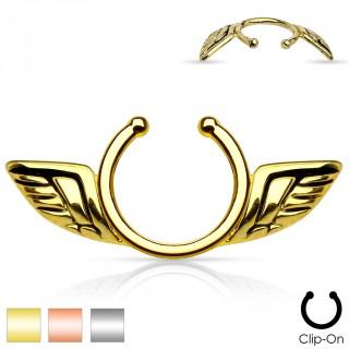Faux piercing téton avec ailes d'anges