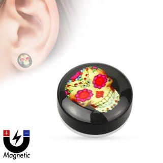 Faux plug d'oreille à crane de sucre mexicain (magnétique - sans perçage)