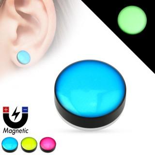Faux plug d'oreille à pastille fluorescente (magnétique - sans perçage)