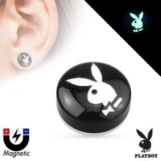 Faux plug d'oreille avec lapin Playboy fluo (magnétique - sans perçage)