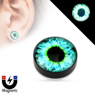 Faux plug d'oreille avec oeil fluo (magnétique - sans perçage)