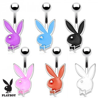 Micro piercing nombril avec lapin Playboy monochrome (licence officielle)