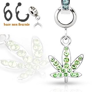 Pendentif feuille de cannabis pour piercing nombril modulable