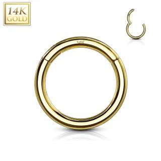 Piercing anneau à segment clips en or jaune 14 carats