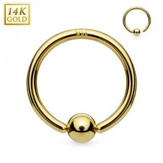 Piercing anneau CBR en or jaune 14 carats