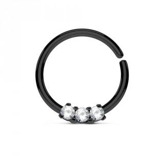 Piercing anneau noir pliable serti de 3 strass