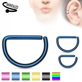 Piercing anneau oreille ou nez en D en acier plaqué IP