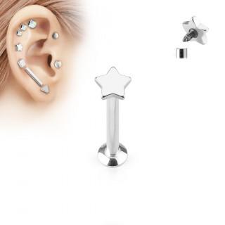 Piercing cartilage étoile argentée