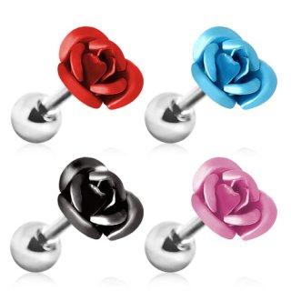 Piercing cartilage tragus hélix à rose metallisée