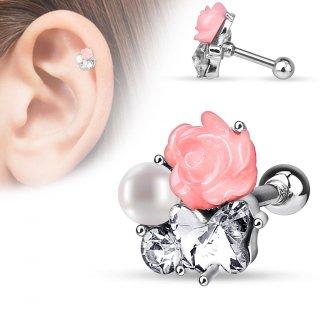 Piercing hélix / cartilage à rose fimo, perle et papillon en strass