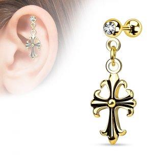 Piercing hélix / cartilage plaqué or avec pendentif croix celtique perlée