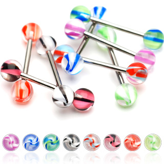Piercing langue avec boules à spirales