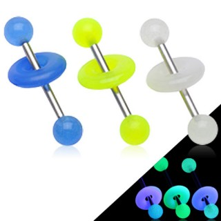 Piercing langue boules et anneau fluorescent