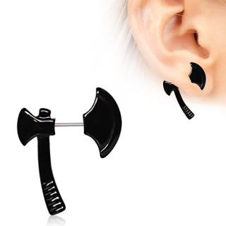 Piercing lobe oreille en forme de hache noire