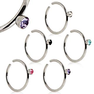 Piercing nez anneau en acier à strass enchassé