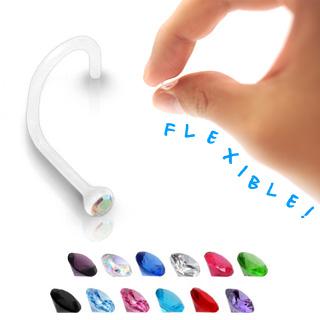 Piercing bioflex nez serti d'un strass - Blanc