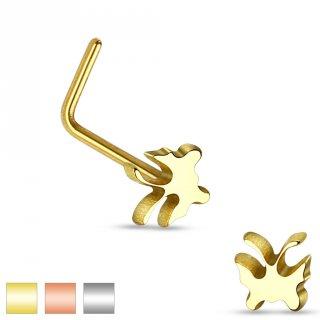 Piercing nez en acier à tige en L avec embout papillon