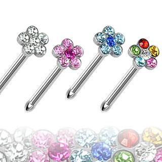 Piercing nez en acier avec fleur à pétales zircon