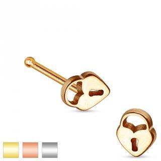 Piercing nez stud droit en acier avec embout cadenas en coeur