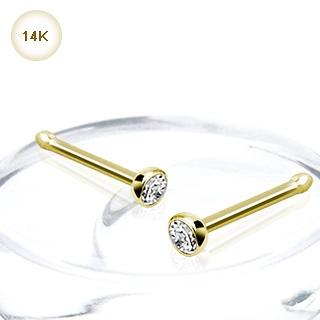 piercing nez stud or 14 carats serti