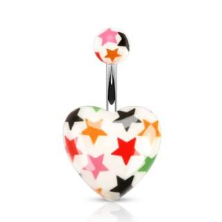 Piercing nombril à étoiles multicolores sur coeur blanc