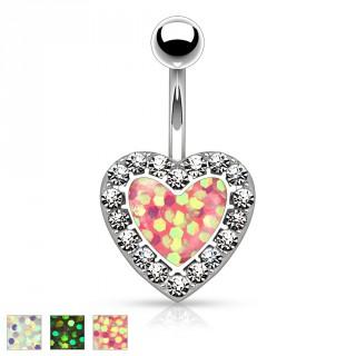Piercing nombril à opale synthétique en forme de coeur bordé de strass