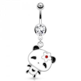 Piercing nombril à pendentif panda kawaii à fleur