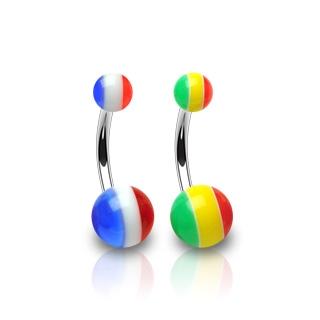 Piercing nombril boules drapeau