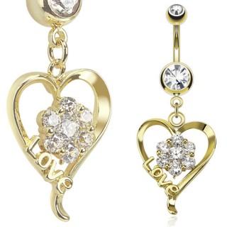 Piercing nombril coeur love plaqué or avec fleur de pierres