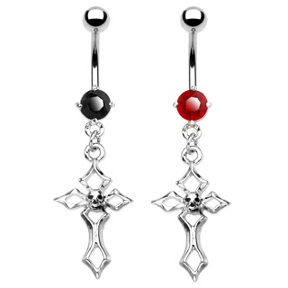 Piercing nombril croix gothique avec crane