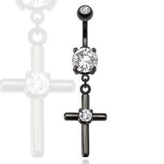 Piercing nombril croix noire avec pierre au centre