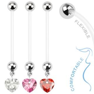Piercing nombril de grossesse avec coeur zircon