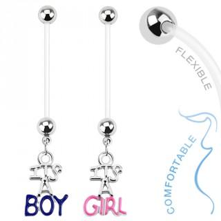 """Piercing nombril de grossesse avec pendentif """"It is a..."""""""